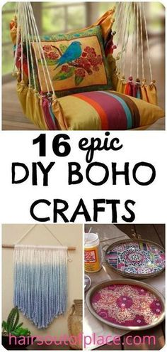 16 fun and easy DIY boho craft ideas to help you decorate your boho bedroom! Making your own DIY gypsy decor is an inexpensive way to make your own wall hangings, create the ultimate gypsy or hippie room, apartment or home. Perfect gypsie crafts for teens Diy Home Decor Rustic, Easy Home Decor, Diy Room Decor For Teens Easy, Craft Ideas For The Home, Diy Room Decor For College, College Crafts, Diy Crafts For Teens, Diy Decorations For Home, Diy Home Projects Easy