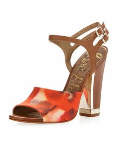 I Love this  show. Its heel is 4 1/2 but it is a block heel and should be more stable. I'm sure I could wear these. Odetta Floral Print Satin Sandal, Red Hot Saddle by Sam Edelman at Neiman Marcus Last Call.