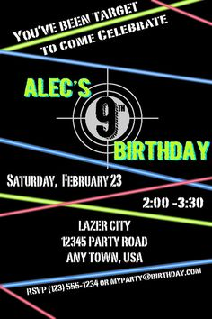 Printable laser tag ticket birthday invitation glow in the dark laser tag birthday invitation stopboris Image collections