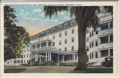 White Border Postcard New England Sanitarium and Hospital, Main Building Melrose, MA Melrose Massachusetts, Boston Pictures, Memorial Hospital, Yahoo Images, New England, Image Search, Maine, Backdrops, Mansions