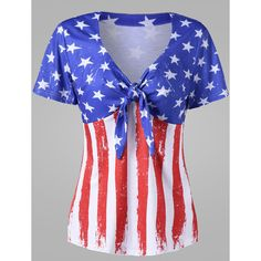V-Neck US Flag Printed Tie-Front Short Sleeve T-Shirt (£17) ❤ liked on Polyvore featuring tops, t-shirts, v-neck tee, short sleeve v-neck tee, short sleeve tops, short sleeve summer tops and summer t shirts