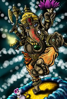 Ganesha Coloured by chrisxart on DeviantArt Ganesha Painting, Ganesha Art, Lord Ganesha, Lord Krishna, Shiva, Hindu Deities, Hinduism, Om Gam Ganapataye Namaha, Ganesh Tattoo