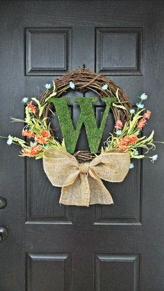Colorful Wildflower and Moss Monogram Spring and Summer Wreath on Etsy Monogram Wreath, Diy Wreath, Wreath Ideas, Moss Wreath, Door Wreaths, Grapevine Wreath, Holiday Crafts, Holiday Fun, Diy Projects To Try