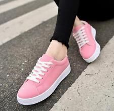 2017 New Women's Fashion Leather Casual Lace Up Sneakers Trainer Shoes