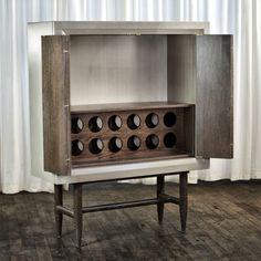 Cabinet no. Four Fifty Five, inspired by TV Cabinet, Bar Cabinet, Accordion Door Cabinet: Bench made from red oak and maple sourced from New England and the Mid Atlantic.