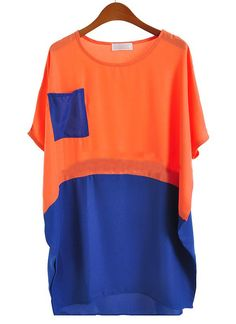 #SheInside Orange Blue Short Sleeve Pocket Batwing Chiffon Blouse