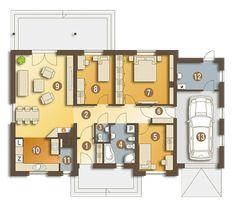 Projekt domu Julek styl z garażem [A] 99 - koszt budowy 194 tys. Model House Plan, House Plans, Scandinavian Home, My Dream Home, Home Projects, Building A House, Trends, Sweet Home, Gallery Wall