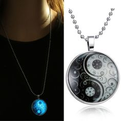 necklaces Glass Necklace Jewelry glowing necklaces for women men New Glow in the dark necklace Yin Yang Pendants