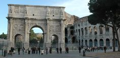 the day spent in the ancient city ruins was and experience i will never forget: Rome--Arch of Constantine with the Coliseum to the right.  Erected to commemorate Constantine's military victory at the Battle of the Milvian Bridge in 312 AD, the arch is over 25 meters high.