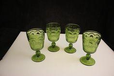 "Vintage Bartlett & Collins Manhattan Green Goblet 6"" Set of 4"