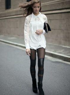 Mesh/PU Contrast Panel Black Leggings,  Bottoms, Black Leggings  Mesh Leggings  Leather Leggings, Chic