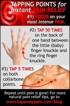 2 Quick Tapping Points for Pain Relief from the blog at http://www.tapawaypain.com/tapping-points-for-pain/