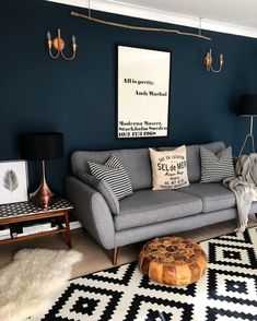 Living Room Dark Walls Small Spaces 39 Super Ideas Livingroom - Home, Room, Furniture and Garden Design Ideas Accent Walls In Living Room, Accent Wall Bedroom, Interior Design Living Room, Dark Blue Living Room, Interior Livingroom, Apartment Interior, Interior Design Ideas For Small Spaces, Bold Living Room, Colourful Living Room