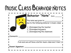 """Music Class """"Behavior Notes"""" by Ms Silvestri's Music Classroom Classroom Management Strategies, Teaching Strategies, Classroom Behavior, Music Classroom, Elementary Music Lessons, Music Education, Cut Outs, Teacher Pay Teachers, Assessment"""