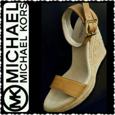 Michael Kors Leather Espadrilles Wedge Michael Kors Signature Leather Espadrilles with About 5 inches Wedge, Leather Upper & Rubber Outsole, Buckle Strap in Nude Shade, Like New Condition Michael Kors Shoes Wedges