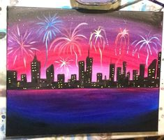 How To Paint A Cityscape with Fireworks   Learn how to paint this Cityscape Fireworks