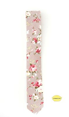 Silver Pink Floral Tie Floral Tie Pink Floral Tie by Lemoncliff