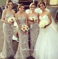 Modest #Strapless #Sweetheart #Mermaid Lace Bridesmaid Dress