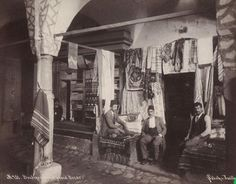 An poster sized print, approx (other products available) - Men outside a Turkish bazaar. Date: circa 1870 - Image supplied by Mary Evans Prints Online - Poster printed in the USA Fine Art Prints, Framed Prints, Canvas Prints, Park Photography, Historical Pictures, Photographic Prints, Portrait, Poster Size Prints, Photo Wall Art