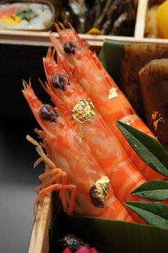 Kuruma-Ebi, Japanese Tiger Prawn with Gold Foil, for Osechi New Year's Cuisine おせちの車海老