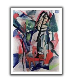 'Animals Under Trees' by Franz Marc Canvas Poster