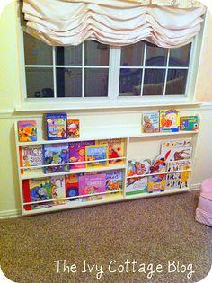 Thin DIY Bookcase for under boys windows?
