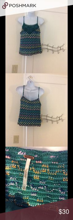 Free people crochet shirt It has a lining in it.  Cute and classic Free People Tops Tank Tops
