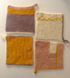 Ravelry: Four Felted Hot Pads pattern by Purl Soho Yarn Projects, Knitting Projects, Knitting Ideas, Knitting Designs, Knitting Patterns Free, Free Knitting, Free Pattern, Crochet Home, Crochet Yarn