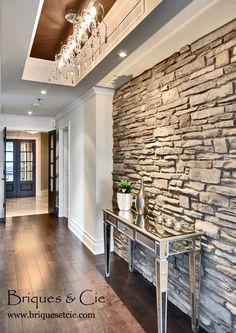 Plaquettes de parement toscane en briques reconstitu es - Pierre decorative pour foyer ...