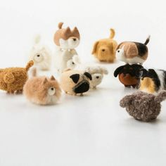 Design: Needle felted Animal Cutedog In Stock:2-4 days for processing Include: Only The Needle Feltingdog Color:White & brown & Black Material: Felt Wool (100% merino wool), Plastic Eyes, Leather, Love...