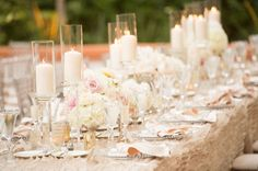 Blush and ivory flowers glam wedding rancho las lomas Studio EMP via CeremonyBlog.com
