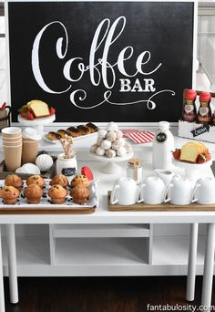"How cute is this coffee bar? Stocked with all the morning essentials such as breakfast foods, and coffee! Perfect event idea if you are throwing a morning brunch! bar ideas party brunch wedding ""You've Warmed my Heart,"" Coffee Bar Baby Shower Brunch, Coffee Bar Party, Coffe Bar, Coffee Bar Wedding, Coffee Coffee, Buffet Wedding, Coffee Maker, Coffee Enema, Coffee Shops"