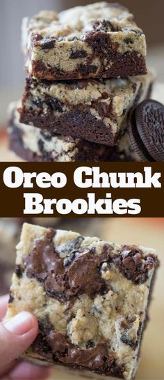 Oreo Chunk Brookies are the best of both worlds with crispy oreo chunk cookie top and rich chewy dark chocolate brownie bottom. Oreo Chunk Brookies are the best of both worlds with crispy oreo chunk cookie top and rich chewy dark chocolate brownie bottom. Brownie Desserts, Mini Desserts, Brownie Recipes, Easy Desserts, Delicious Desserts, Yummy Food, Recipes With Oreos, Oreo Dessert Recipes, Desserts With Oreos