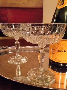 2 Vintage Champagne Coupe Glasses  Set of Two by SalonDuThe