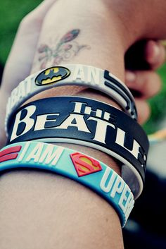 This describes me batman the Beatles and superman! Rubber Bracelets, Silicone Bracelets, Cute Bracelets, Bands Make Her Dance, Most Beautiful Images, Band Merch, Geek Chic, Music Stuff, Alternative Fashion