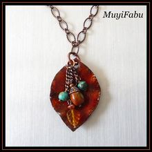 Copper Fold Formed Enamel Leaf Necklace with 20 inch copper chain with Jasper bead fringe.