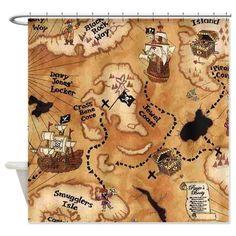 Pirate Treasure Map Shower Curtain on CafePress.com