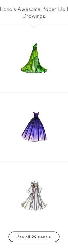 """""""Liana's Awesome Paper Doll Drawings."""" by nanoushka ❤ liked on Polyvore featuring dresses, backgrounds, gowns, vestidos, paper dolls, purple, filler, paper doll, dolls and drawings"""
