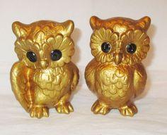 2 Vintage GOLD OWLETS Owls Figurines Black Eyes by SuesVintageBuys