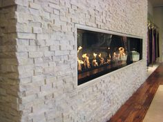 White Quartz Rock Panel - natural stacked stone veneer for wall cladding great for dining room transition to the kitchen White Stone Fireplaces, Stone Fireplace Wall, Rock Fireplaces, Home Fireplace, Modern Fireplace, Fireplace Surrounds, Fireplace Design, Fireplace Ideas, Stone Cladding