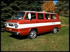 1964 Chevrolet Corvair Greenbrier Van.  I had one of these but it was sort of a lime green with white stripe! Fun to see one again!