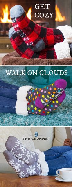 Walk on a cloud. Faux shearling lining makes these colorful slipper socks warm and extra cozy. (Plus grips on the bottom give a little traction.)