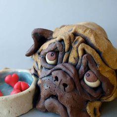 Ceramic Pug Dog with Bowl Sculpture
