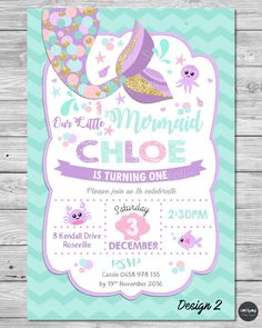 LITTLE MERMAID INVITATIONS INVITE 1ST FIRST BIRTHDAY PARTY SUPPLIES POOL OCEAN #CUSTOMINVITATION #Birthday