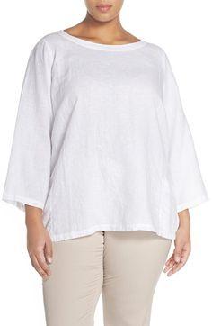 Eileen Fisher Hemp & Cotton Bateau Neck Top (Plus Size)