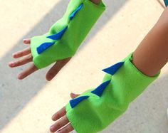 Kids Halloween DINOSAUR Fingerless Gloves - Ships Fast - Kids Halloween Dino Costume Accessories - 7 color options - Dinosaur Party