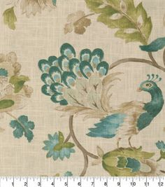Shop drapery fabric by the yard at the JOANN online fabric store! Find a variety of curtain fabric styles, colors & materials, to perfectly match any room's decor. Chair Fabric, Drapery Fabric, Linen Fabric, Curtains, Home Decor Fabric, Fabric Crafts, Watercolor Peacock, Peacock Fabric, Cute Living Room