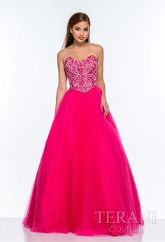 Strapless tulle ballgown with sweetheart neckline and a nude, crystal and sequin embellished bodice finished with a full skirt with mesh overlay.