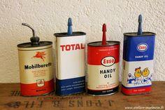 Garage Oil Tins Vintage  Esso, Mobiloil & Total  http://marinette-vintage.blogspot.fr/