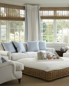 Sunroom Decorating and Design Ideas. Get inspired with clever layout and pretty fabrics, furniture, and accents to transform your sunroom into the most-used room in your house. Tags: sunroom design ideas, sunroom furniture, floor to ceiling windows Cottage Living Rooms, Coastal Living Rooms, My Living Room, Home And Living, Living Room Decor, Coastal Cottage, Coastal Decor, Coastal Farmhouse, Coastal Entryway